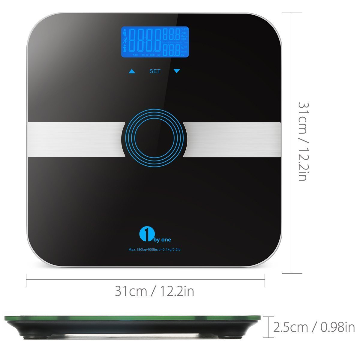 1byone Body Fat Scale Body Scale Bathroom Scale with Tempered Glass, 180kg/400lb Weight Capacity, 10 Users Auto Recognition, Measures Weight, Body Fat, Water, Muscle, Calorie and Bmi, Black
