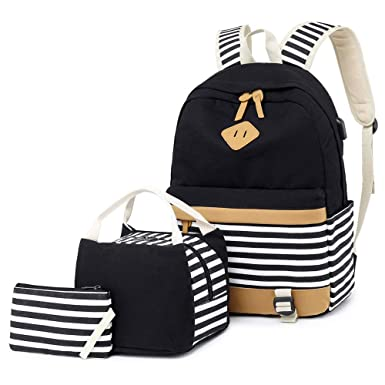 a46a101ca2 Girls Canvas School Backpack Set 3 in 1 with lunch bag College Laptop USB  Backpack Casual