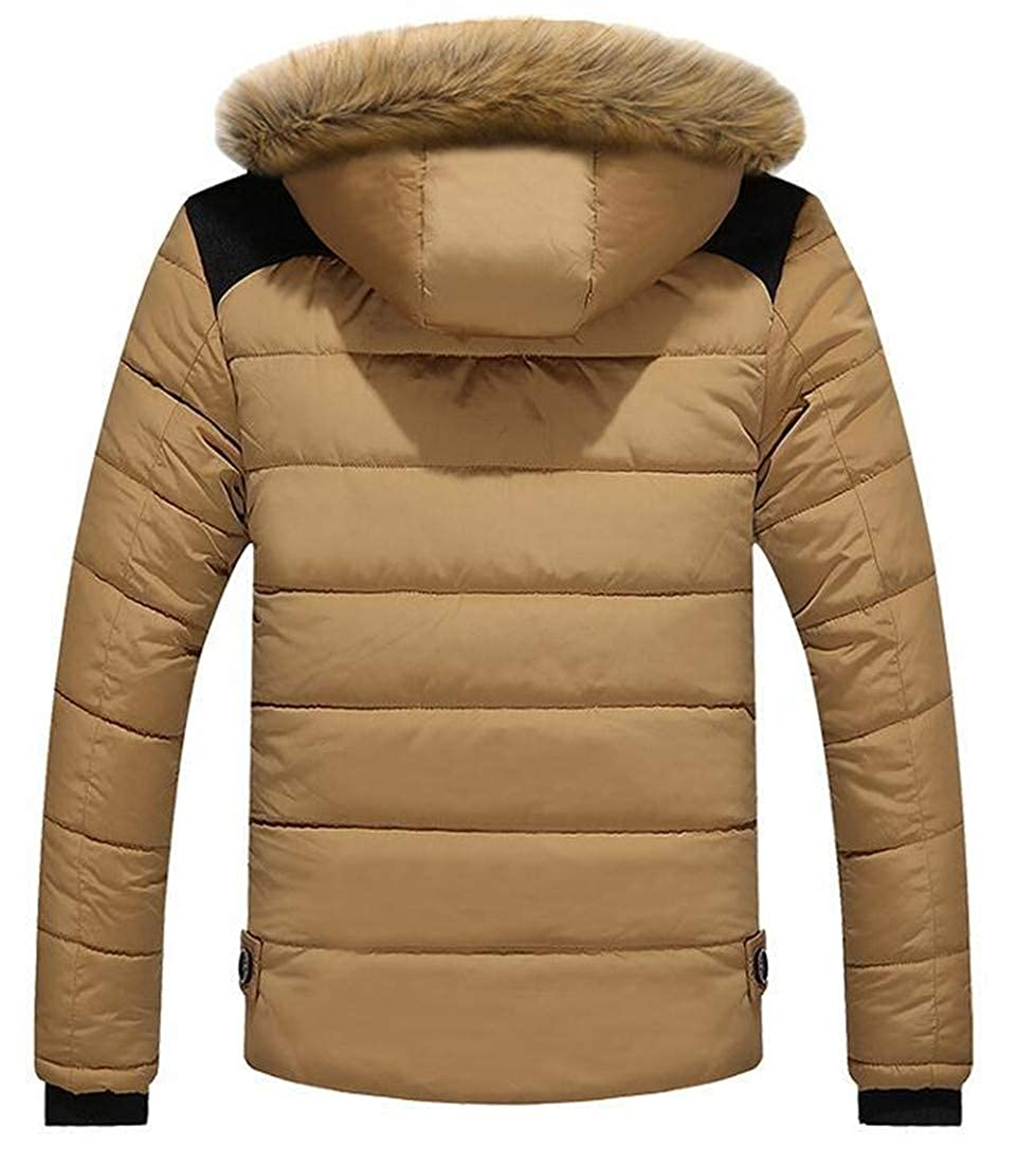 Pandapang Mens Winter Faux Fur Hood Cotton Padded Plus Size Parka Jacket Coat