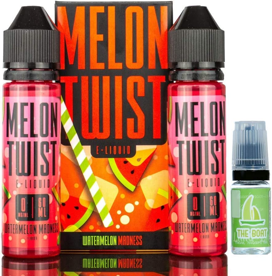 E Liquid Melon Twist Watermelon Madness 50ml (Pack 2 unidades - 100ml) - 70vg 30pg - booster shortfill + E Liquid The Boat 10 ml lima limón - Pack de 3 unidades