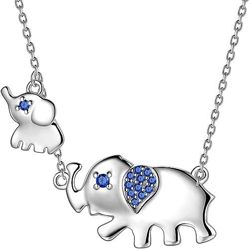 AuroraTears Dp0226W - Collar Con Colgante De Elefante, Plata De Ley 925, Con Dos Elefantes Y Circonitas Azules