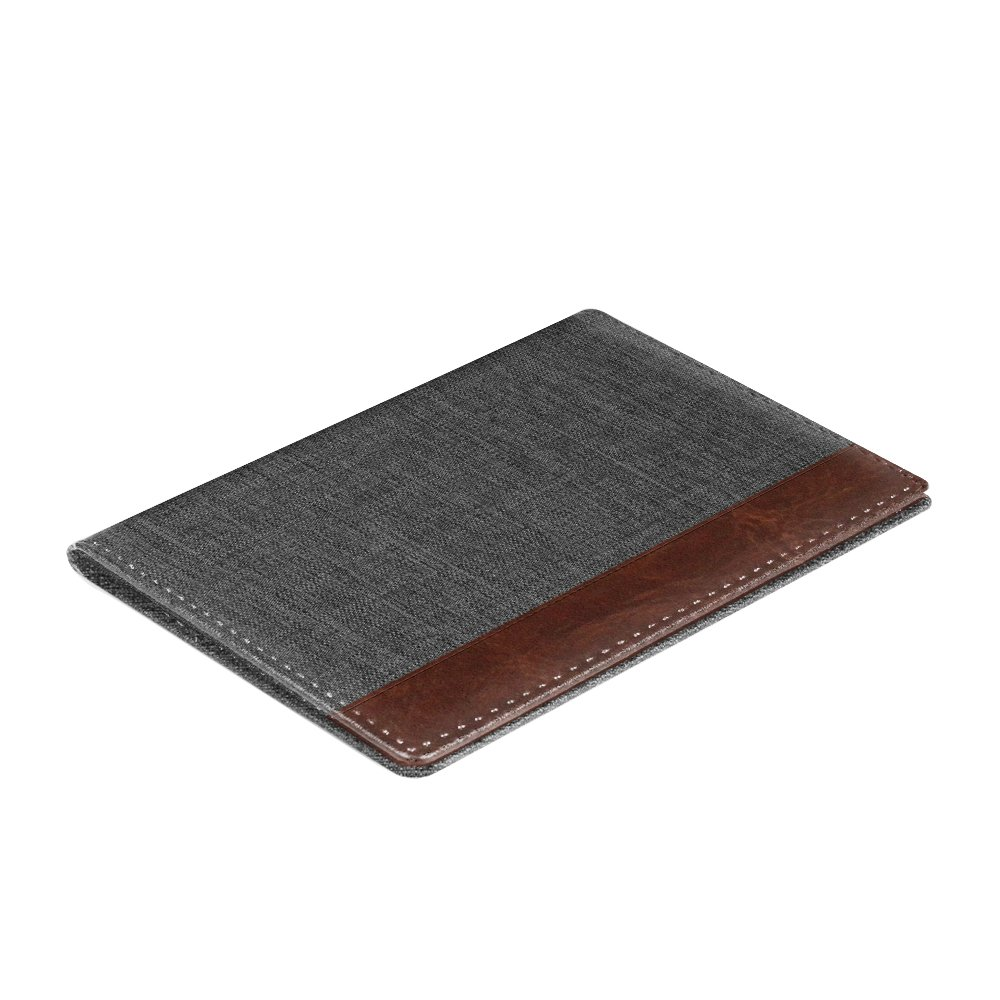Fintie Passport Holder Travel Wallet - Premuim Fabric with Vegan Leather RFID Blocking Case Cover - Securely Holds Passport, Business Cards, Credit Cards, Boarding Passes, Denim Charcoal/Brown by Fintie (Image #9)