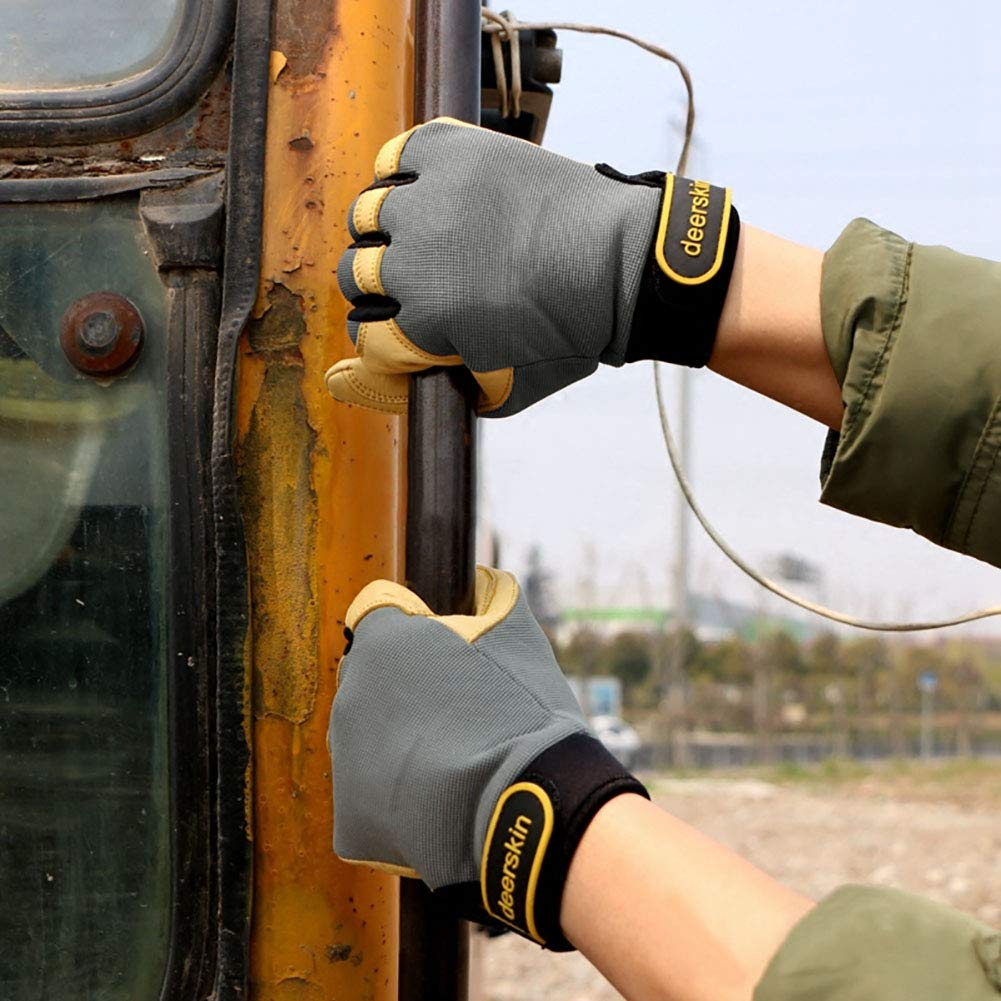 Construction Improved Dexterity Excellent for Labor protection Durable Intra-FIT General Work Gloves Automobile Agriculture Genuine Deerskin Construction Gloves,Soft Mechanical