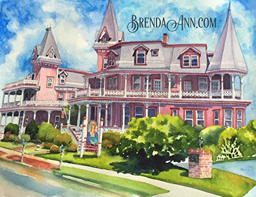 Cape May Cottage - Angel of the Sea in Cape May NJ - Fine Art Wall Art Artwork Watercolor Print by Brenda Ann