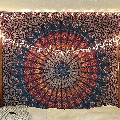 - Bless International Indian hippie Bohemian Psychedelic Peacock Mandala Wall hanging Bedding Tapestry (Golden Blue, King(88x104Inches)(225x265Cms))