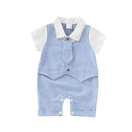 Kingko - Corbata de manga corta para bebé, color sólido, falsa ...