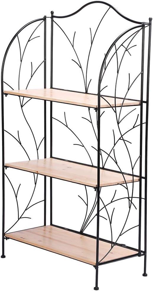 Estink Estantería para plantas, estantería de baño, escalera para flores, estantería de jardín de hierro forjado, multifunción, estantería para libros, 3 niveles: Amazon.es: Jardín