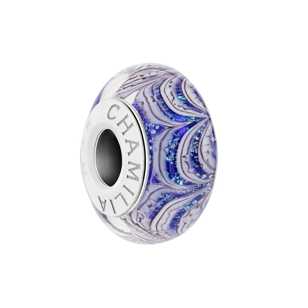 chamilia jack frost- sapphire color with murano glass italian style single charm