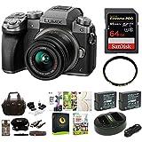 Panasonic LUMIX G7 Mirrorless Camera w/14-42mm f/3.5-5.6 Lens & 64GB SD Card Bundle (Silver)