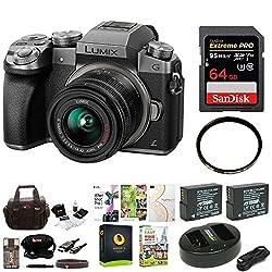 Panasonic Lumix G7 Mirrorless Camera W 14-42mm F3.5-5.6 Lens & 64gb Sd Card Bundle (Silver)