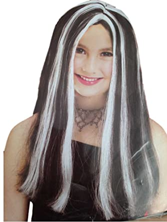Girls Black White Highlights Long Hair Witch Halloween Wig