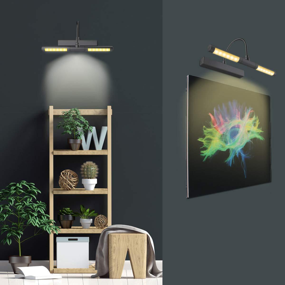 testa girevole da 33 cm con timer per pittura ritratto 3 modalit/à di illuminazione cornice con telecomando HONWELL Lampada a LED wireless a batteria dimmerabile colore: nero