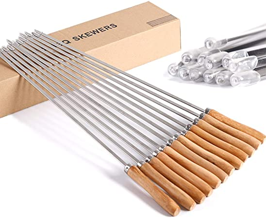 Flat Stainless Steel skewers with wooden handle Pack of 40 ea
