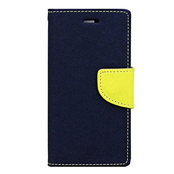 Avzax Luxury Magnetic Lock Diary Wallet Style Flip Cover Case for Lyf Water F1   Blue