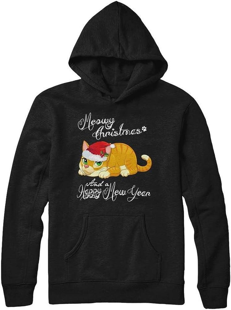 Pullover Hoodie Teely Shop Womens Meowy Christmas a Happy Mew Year Cat Gildan