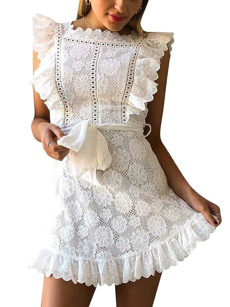 Amazon.com: BerryGo Vestido elegante de encaje con volantes ...