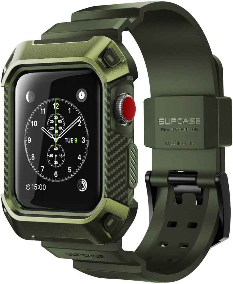 SUPCASE [Unicorn Beetle Pro] Case for Apple Watch 3 [42mm], Rugged Protective Case with Strap Bands for Apple Watch Series 3/2/1 (DarkGreen)