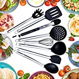 Utensil Set - Kitchen - Lola's Kitchen - 8 Piece Stainless Steel and Silicone - Heat Resistant Scratch Free Cooking Utensils - Home or Professional Quality - All Purpose Kitchen Set - Great Gift