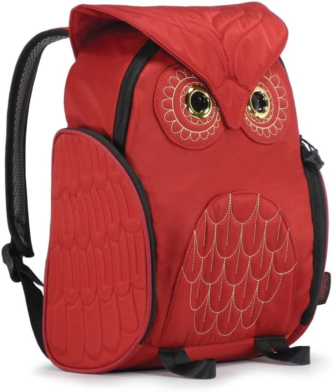 Darlings Owl Padded Straps Quilted Daypack//Backpack Red Medium