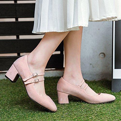 Einfachheit der Schuhe Feder Schuhe der Frauen mit Grob- und flachen Mund einzelne Schuhe lotus root starchcolor 1484ab