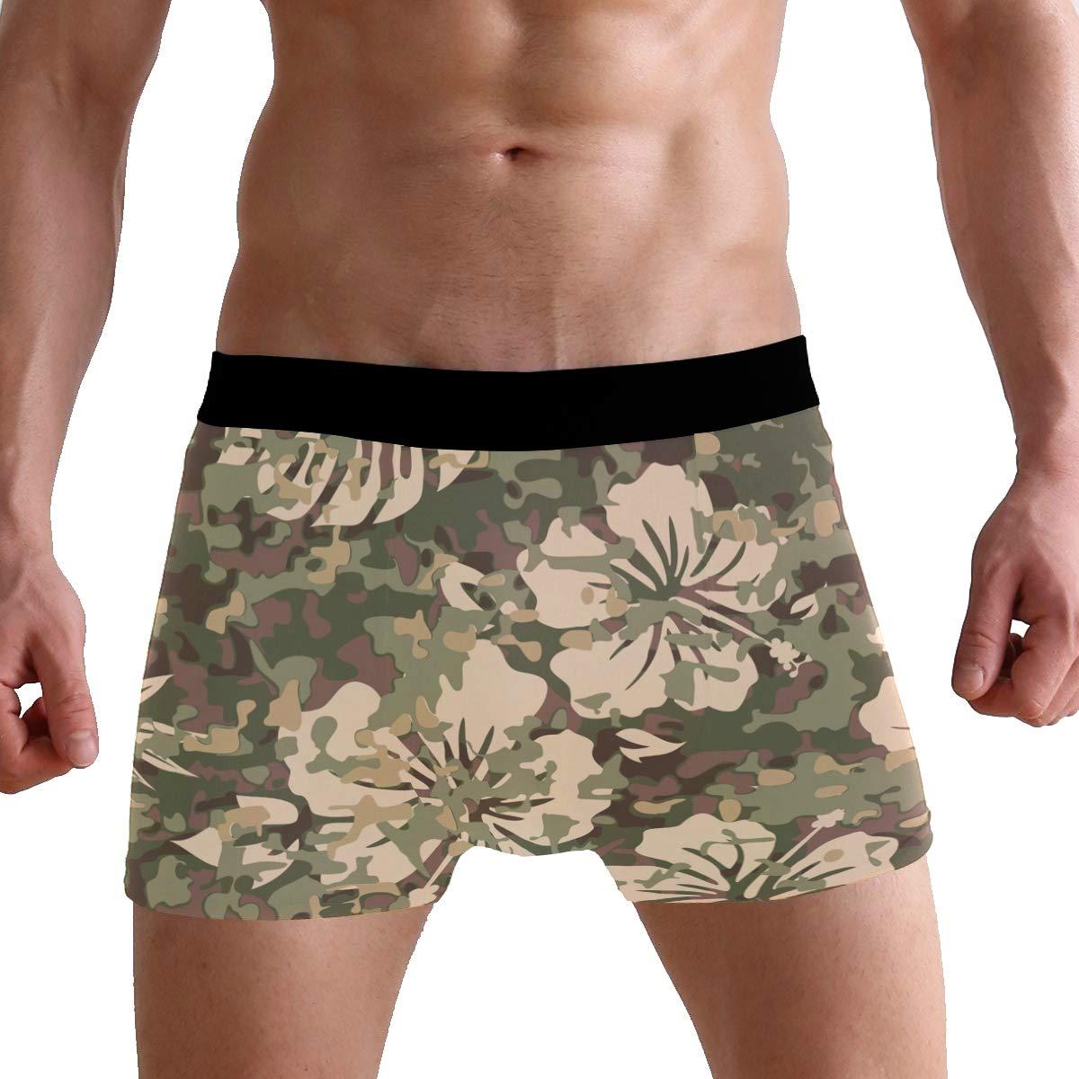 Camouflage Hibiscus Palm Leaf Mens Underwear Boxer Briefs Breathable Multi