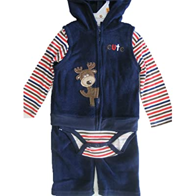 Buster Brown Baby Boys Blue Red Striped Hooded Vest Onesie 3 Pc Pants Set 0