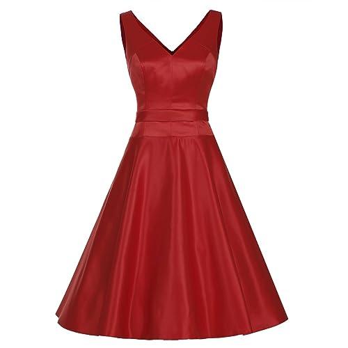 Dresstells reg;Vestido Mujer Corto Retro Vintage De Estilo 1950 Rockabilly Escote En Pico