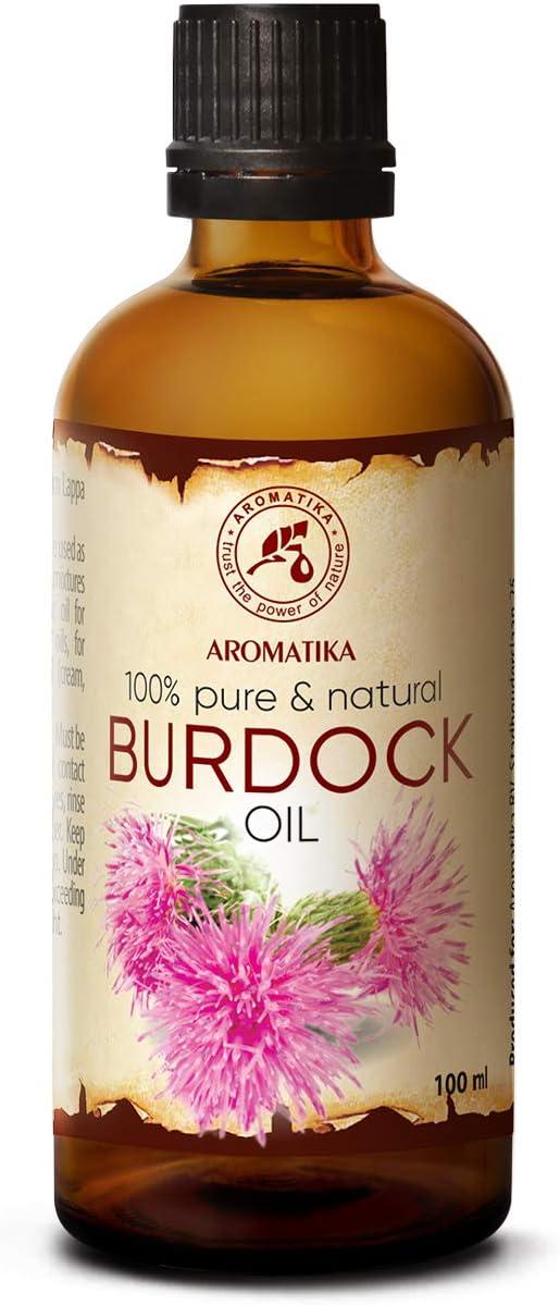 Aceite de Bardana 100ml - Arctium Lappa Root - 100% Puro & Natural - Mejor Aceite para el Cabello - Piel - Rostro - Cuidado Corporal - Botella de Vidrio - Aceite de Semilla de Bardana