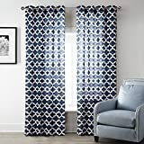 Uphome 1pc White Solid Ruffle Window Curtain Panels - Rod Pocket Semi-blackout Living Room Sheer Curtains (Navy, 52