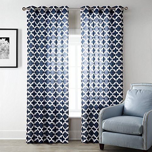 Uphome 1-Pair Quatrefoil Pattern Semi-Sheer Window Curtain Panels -  Meridian Iron Grommet Top Living Room Sheer Curtains,52 x 84 Inch - Geometric Pattern Curtains: Amazon.com