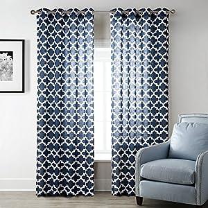 Uphome 1 Pair Quatrefoil Pattern Semi Sheer Window Curtain Panels
