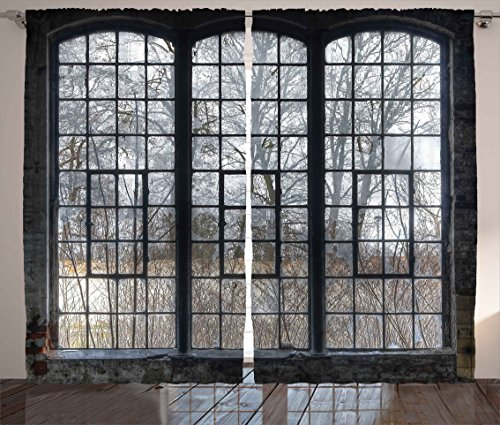 Ambesonne Industrial Decor Collection, Old Large Window with Broken Panes in a