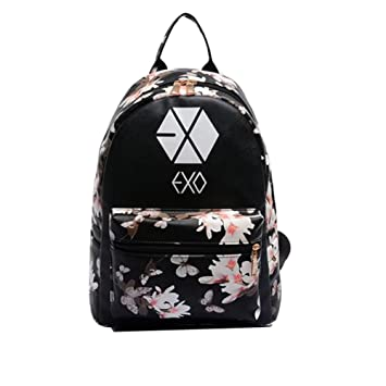 Amazon.com : Women Girl's Flower Floral Cute Kpop Exo Pu Leather ...