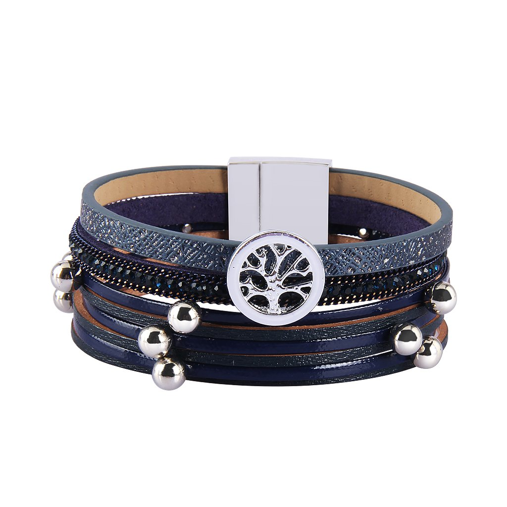 TASBERN Tree of Life Leather Cuff Bracelets Multilayer Rhinestones Stud Beads Rope Wrap Bracelet Wristband for Women Girls Gift(navy)