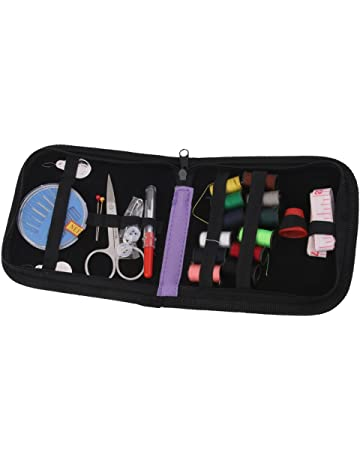25pcs Bolsa de Herramientas de Costura Hilo Tijera Agujas para Viajes Plástico Púrpura