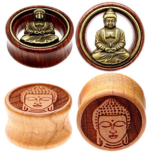 00g 10mm Organic Wood Buddha Flesh Tunnel Double Flare Hollow Ear Gauge Plug Earlobe Stretching Kit