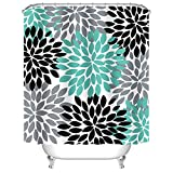 Grey and Teal Shower Curtain Uphome Floral Fabric Shower Curtain, Colorful Dahlia Pinnata Designed Mildew Resistant Waterproof Polyester Bath Curtain for Bathroom Bathtubs Showers, Teal Black Grey, 72x72