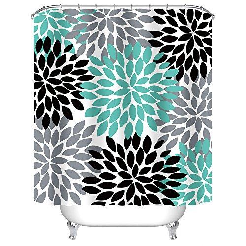 Uphome Multicolor Dahlia Pinnata Flower Customized Bathroom Shower Curtain - Waterproof and Mildewproof Polyester Fabric Bath Curtain Design,Teal,Black,Grey, 72 W x 78 H