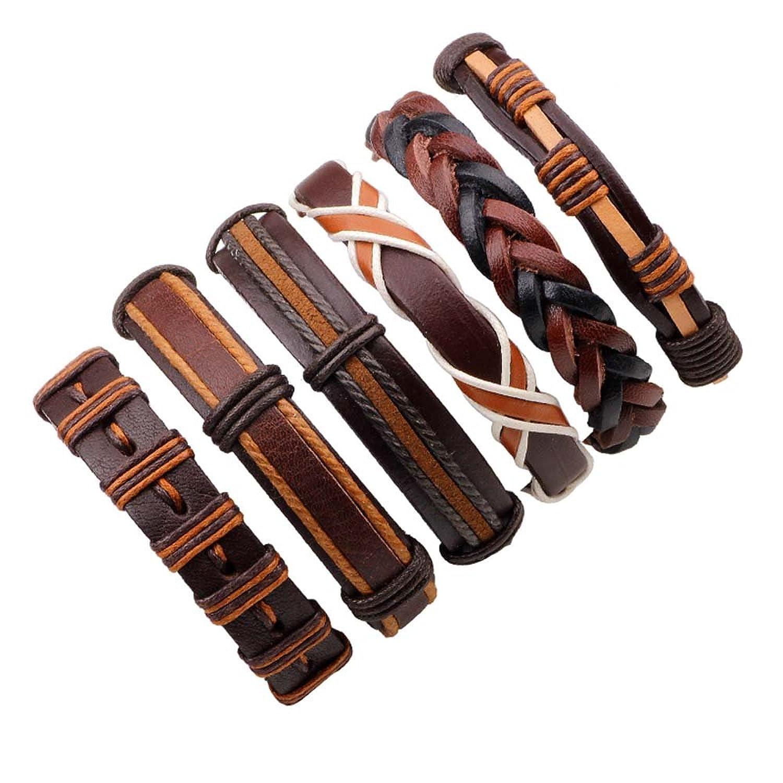 Ducarsel 6Pcs Multilayer Woven Bracelets Unisex Adjustable Braided Artificial Leather Bangles Set 21cm