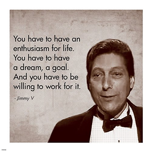 Enthusiasm for Life, Jimmy V Art Print, 12 x 12 inches