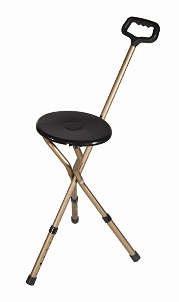 Drive Adjustable Folding Round Seat Cane   Tri Pod   250 Lb Capacity