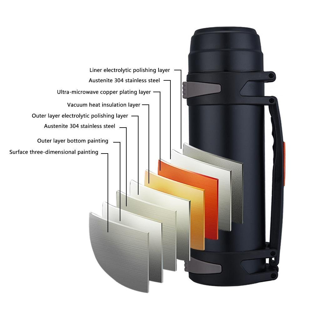 Argento Vacuum Stainless Steel Doublelayer 2L//2.5L Insulation Travel Bottle Large Capacity Outdoor Insulation Water Bottle