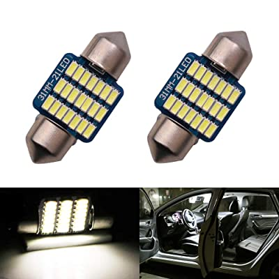DE3175 DE3021 DE3022 31mm LED Bulbs Dome Light White 6000K 3014 SMD for Cars Map License Plate Trunk Interior Reading Lights Lamps Replacement Festoon Extremely Bright 12V 3W 1 Year Warranty 1.22in: Automotive