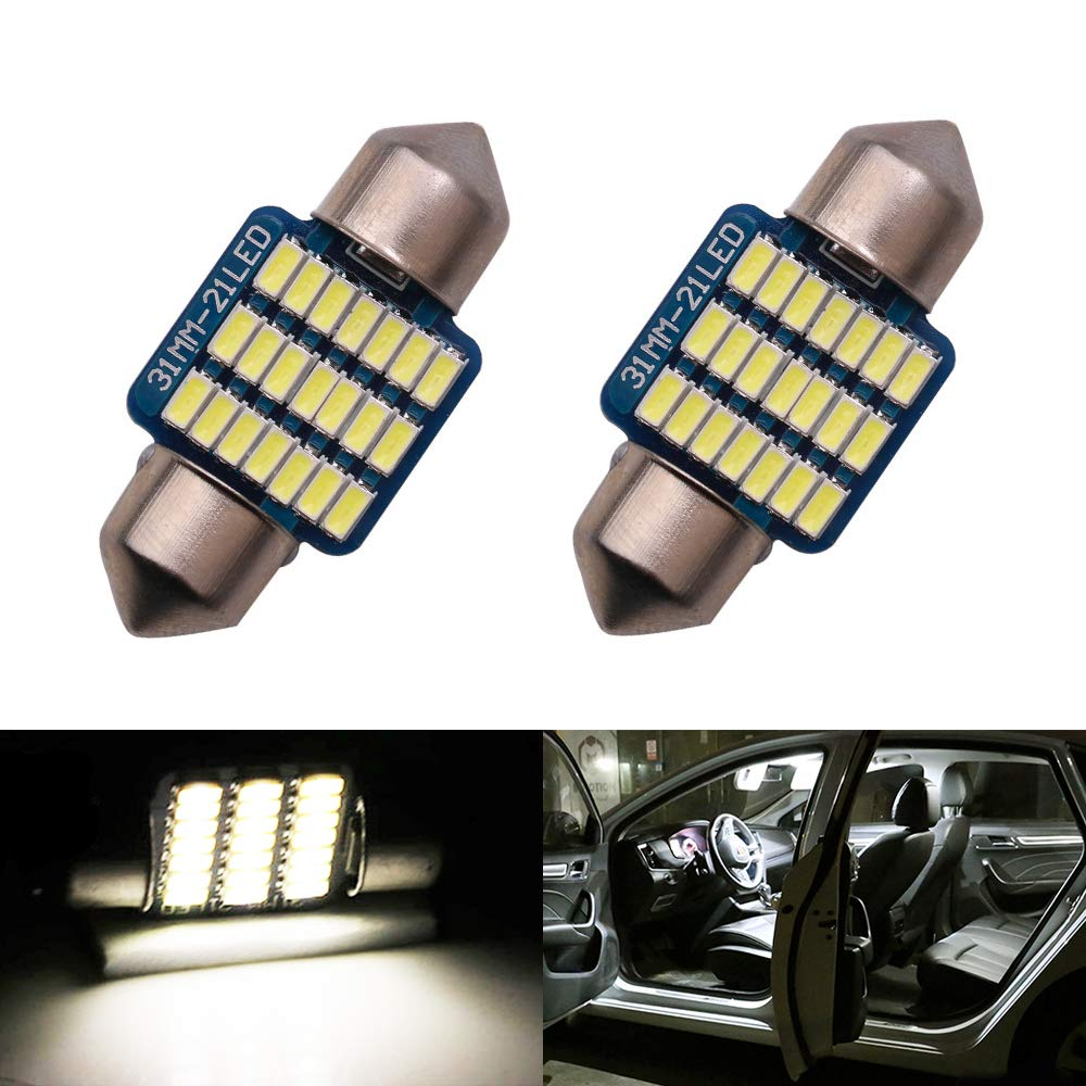31mm DE3175 DE3021 DE3022 LED Bulbs Dome Light White 6000K 3014 SMD for Cars Map License Plate Trunk Interior Reading Lights Lamps Replacement Festoon Extremely Bright 12V 3W 1 Year Warranty 1.22 inch Pack of 2【1797】