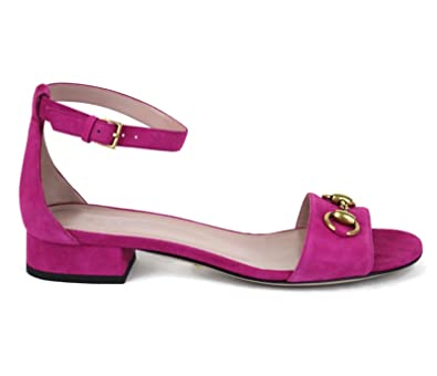 49da473b813 Gucci Women s Suede and Leather Ankle Strap Horsebit Sandals It 38.5   US  8.5 Fuchsia