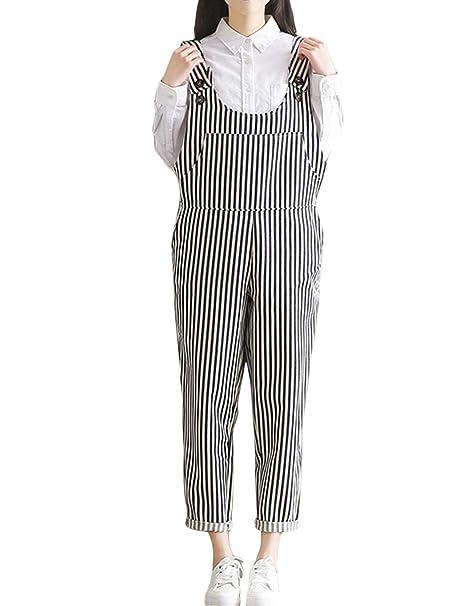 548ca1298e24 Amazon.com  Yeokou Women s Loose Vintage Jumpsuits Striped Bib Linen  Cropped Pants Overalls  Clothing