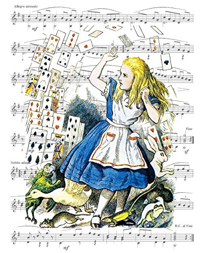 8x10 Fine Art Print, Alice in Wonderland Decorations, Alice at the End of Wonderland. Overlaid on Sheet Music Artwork. (Alice In Wonderland Decorations To Make)