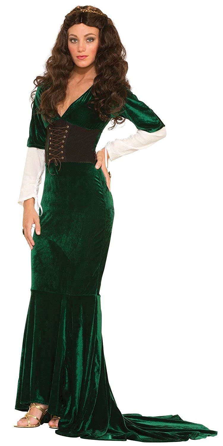 Ladies Long verde Medieval Maid Marion Reinaissance Fancy Dress Costume Outfit (One Dimensione (UK 10-14))