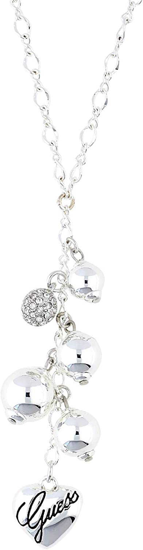 Guess Bead - Colgante para Mujeres de Acero Inoxidable con Cristal, Color Plata