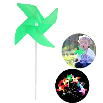 Windmill Kids Toys Glow 6 Wheels Yard Garden Ornaments Colorful Outdoor Spinner